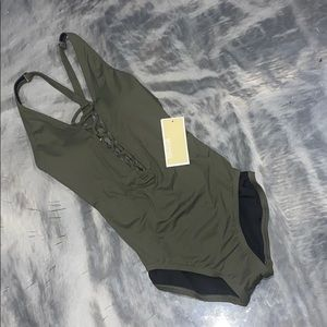 NEW MICHEAL KORS ONE PIECE LACE UP SWIM SUIT GREEN